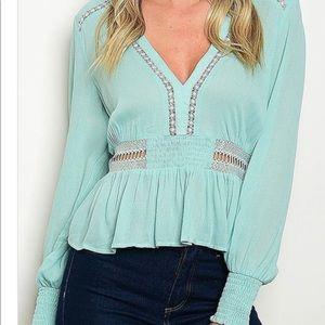 Tops - NEW Blue green peplum bohemian tailored blouse
